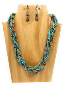 Cyan Impression Jasper Braided  Necklace Set