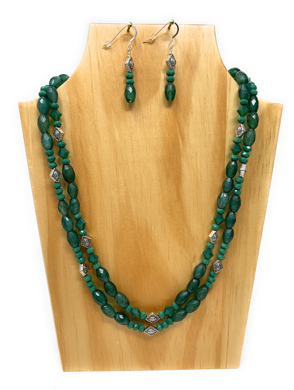 Candy Green Jade  Dual Strand Green Stone Necklace Set