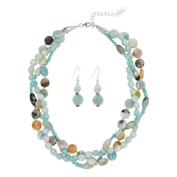Amazonite  3 Strand Necklace Set