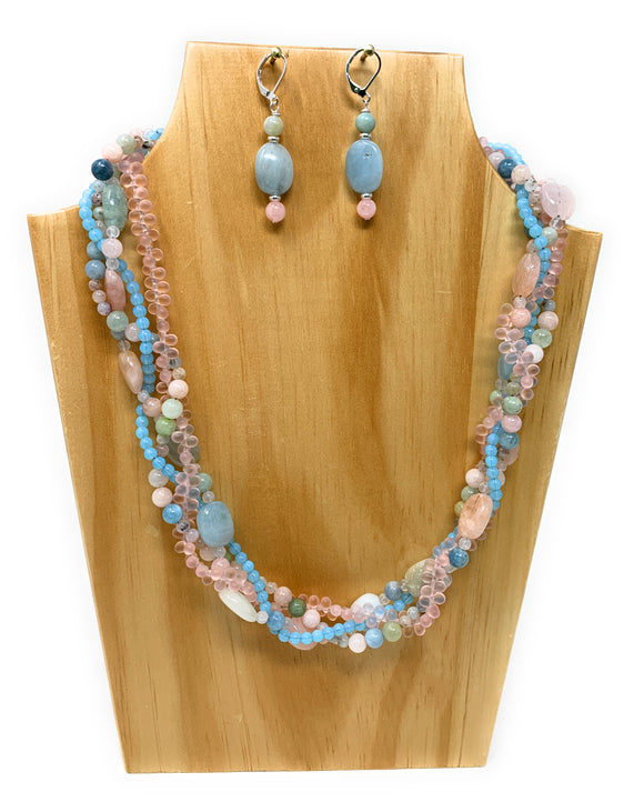 Morganite Braided Necklace Set