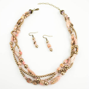Rhodochrosite and Bronze Pearl Necklace Set