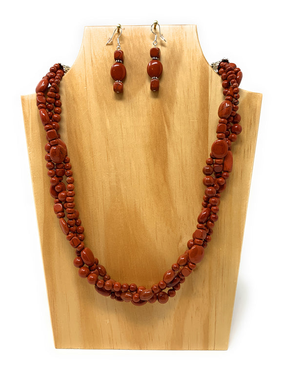 Red Jasper  Braided Red Stone Necklace Set