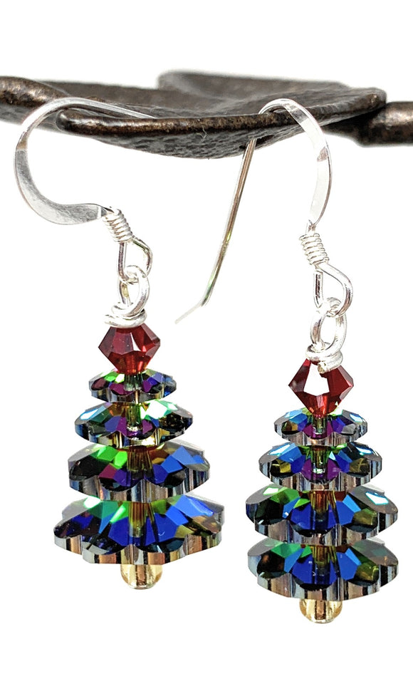 Christmas Tree Earrings - Vitrail Crystal  with Siam Red