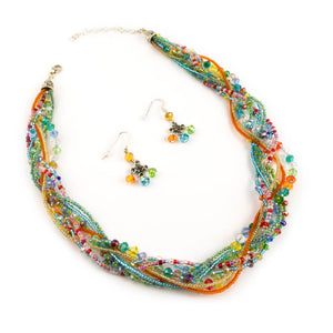 Multicolor Braided Glass Necklace