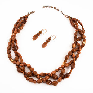 Goldstone Braided Multistrand Necklace Set