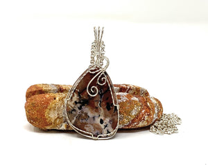 Jasper Wire Wrapped Pendant - Free form