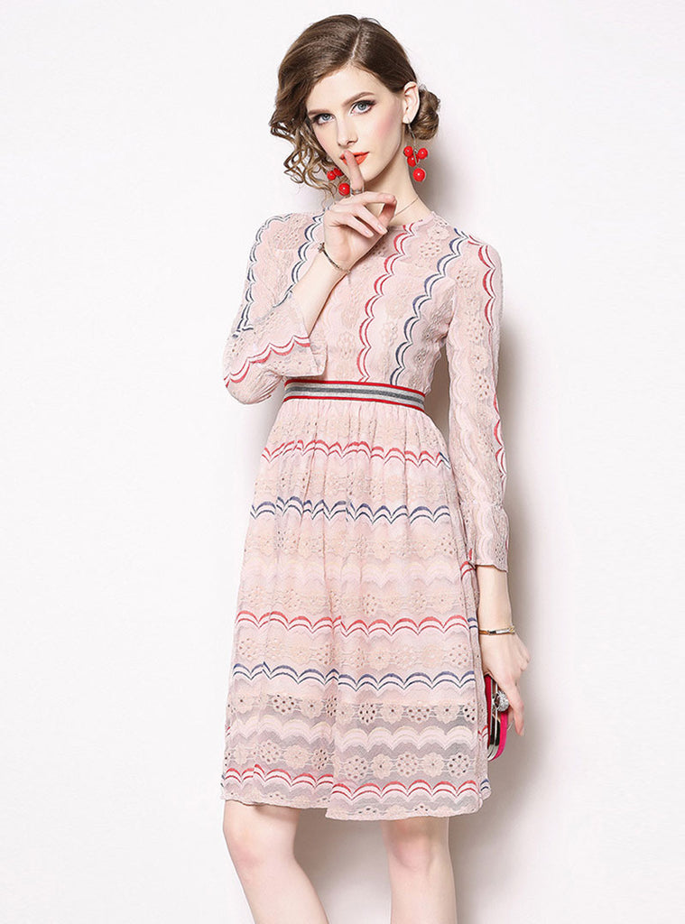 622bf6422d9 Sweet Light Pink Lace A-Line Striped Bell Sleeve Crew Neck Midi Dress