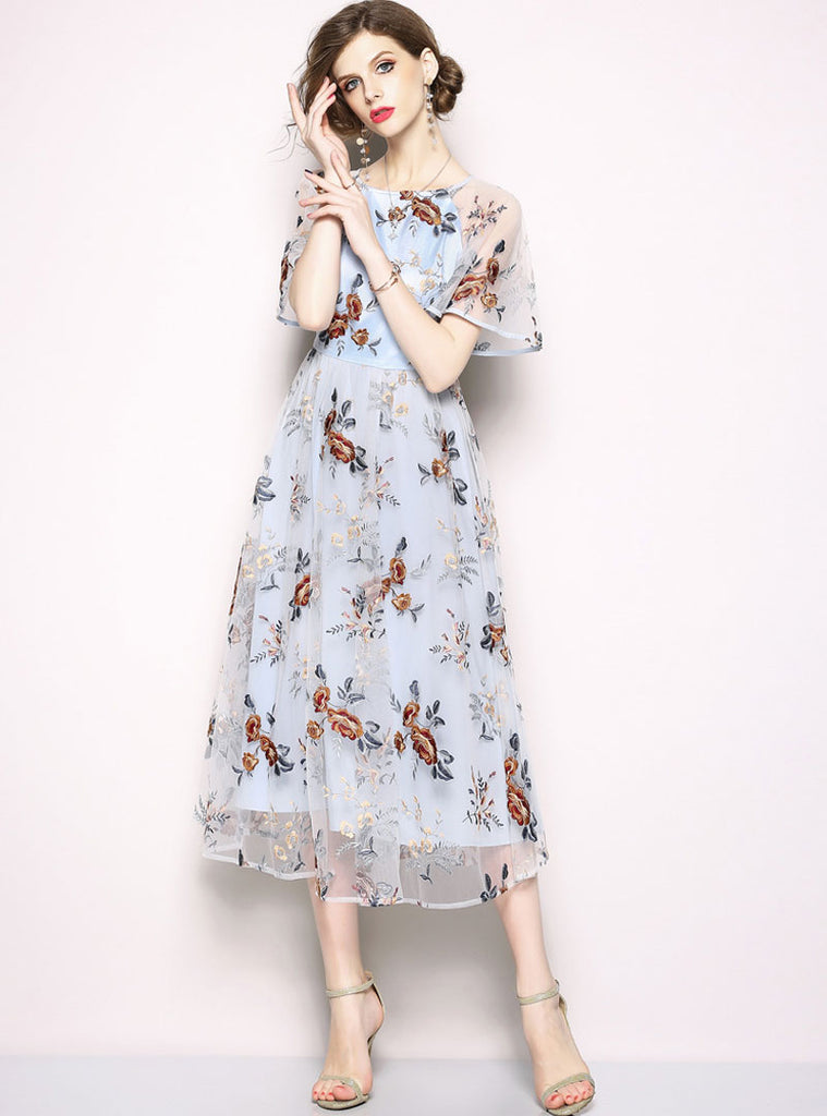 ef14808e42050 Light Blue Floral Embroidered Mesh Midi Dress – Jollymuse