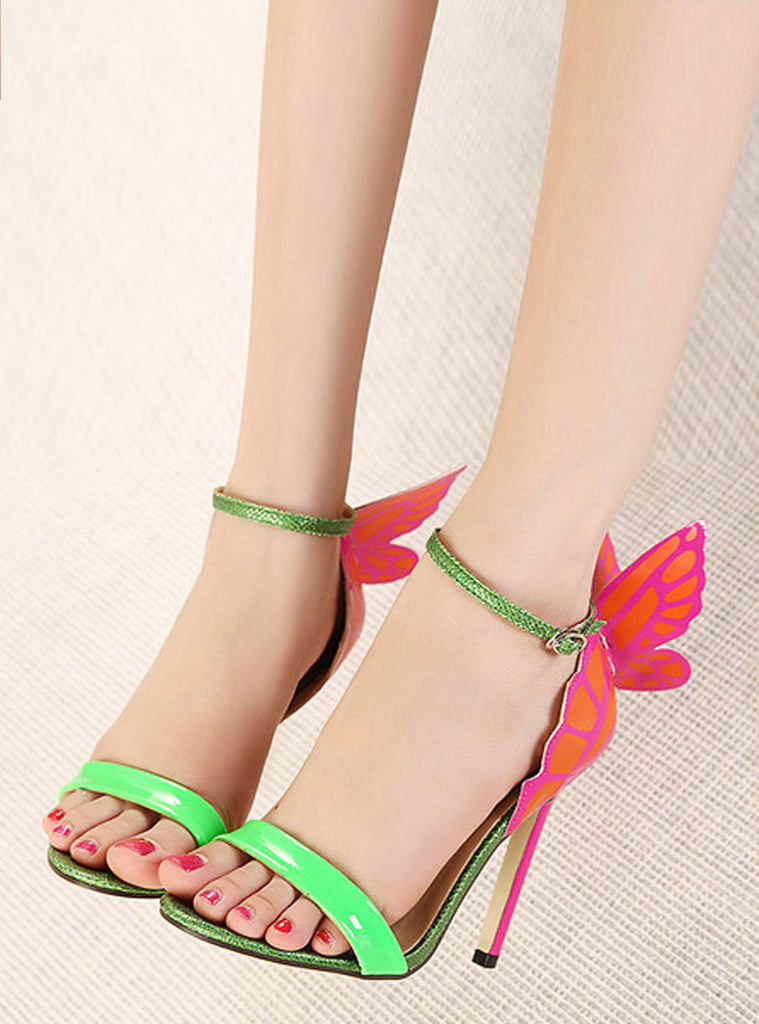 18c1f983cab Multi-Color Butterfly Wing Stiletto Heel Sandals – Jollymuse