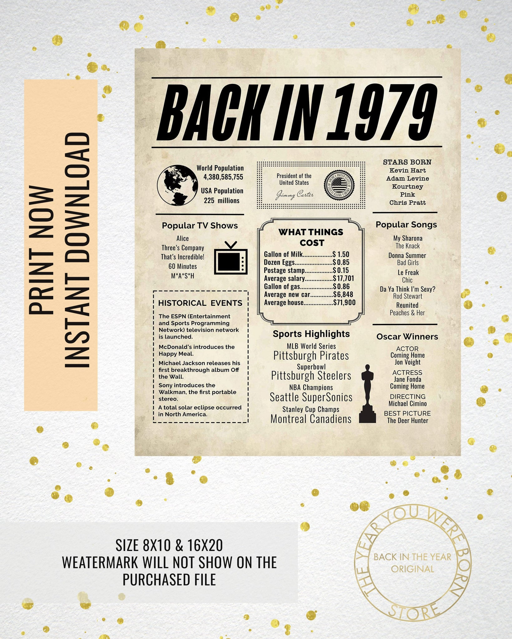 photo relating to Free Printable Birthday Newspaper referred to as 1979 Newspaper Poster, Birthday Poster Printable, Year Capsule 1979, The Yr 1979 Instantaneous Down load, 1979 poster poster indicator