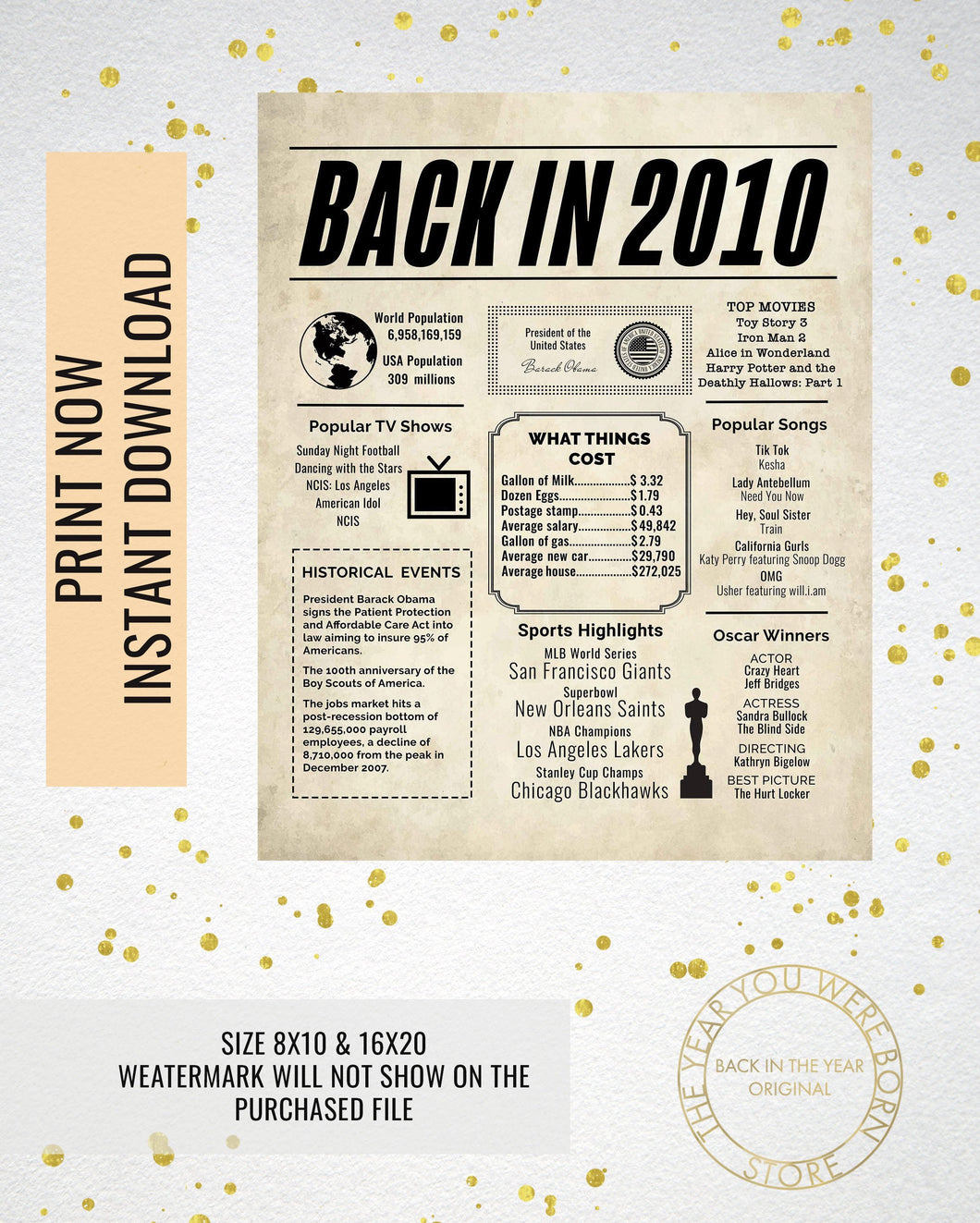 picture relating to Printable Locker Signs referred to as 2010 Newspaper Poster, Birthday Poster Printable, Year Capsule 2010, The Calendar year 2010 Quick Down load, 2010 poster poster indicator