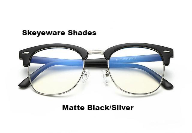 Fashionable Computer Glasses (Anti-Blue Ray) - Matte Black Silver - Unisex
