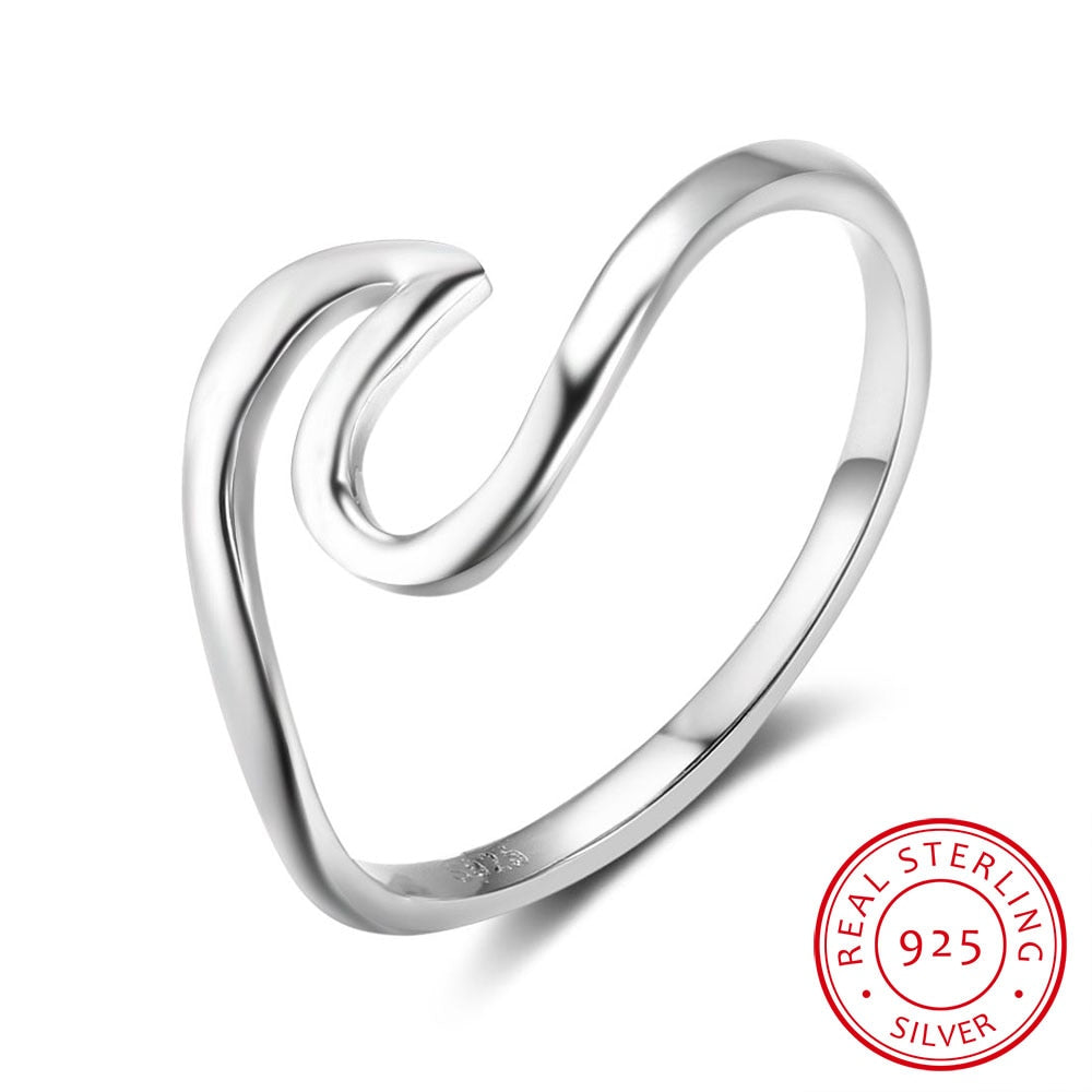 Wave Sterling Silver Ring - Jewelry