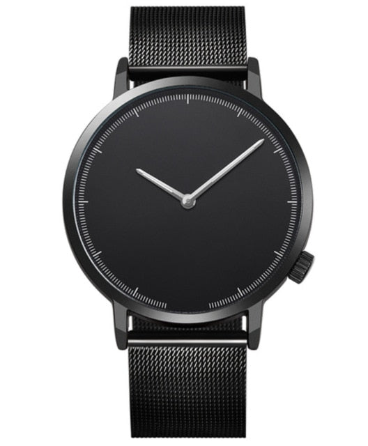 Simplistic Steel Band Watch - Black W/ Black Face / United States - Jewelry