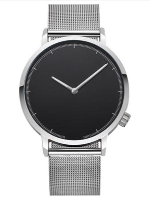 Simplistic Steel Band Watch - Silver W/ Black Face / United States - Jewelry