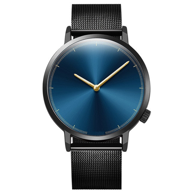 Simplistic Steel Band Watch - Black W/ Blue Face / United States - Jewelry