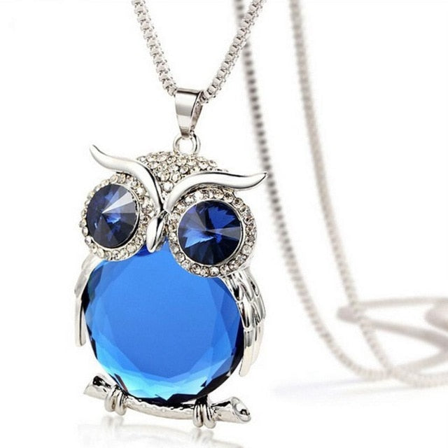 Gem Belly Owl Necklace - Blue Stone / United States - Jewelry