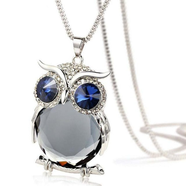 Gem Belly Owl Necklace - Gray Stone / United States - Jewelry
