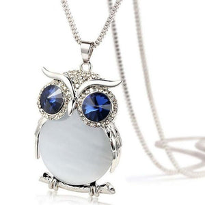 Gem Belly Owl Necklace - White Stone / United States - Jewelry