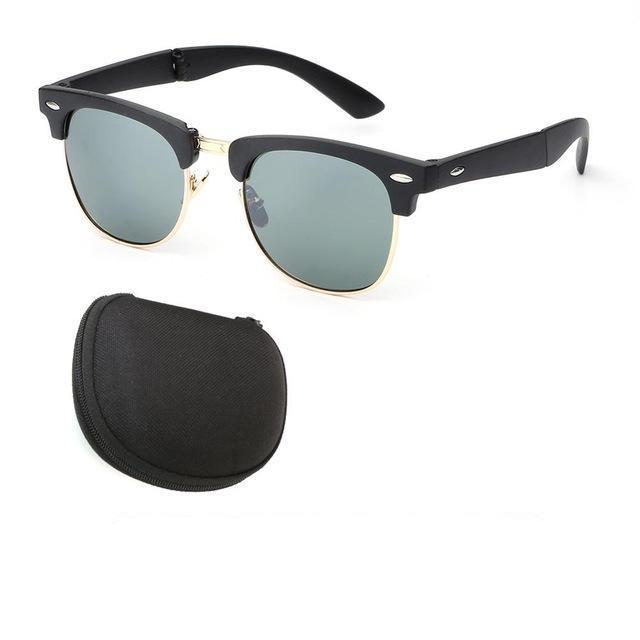 Vintage Folding Sunglasses (Comes With Case) - Black Frame G15 - Men