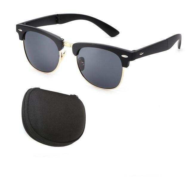 Vintage Folding Sunglasses (Comes With Case) - Black Gold - Men