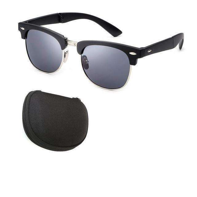 Skeyeware Shades Men Black Silver Vintage Folding Sunglasses (comes with case)