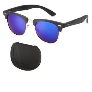 Vintage Folding Sunglasses (Comes With Case) - Blue - Men
