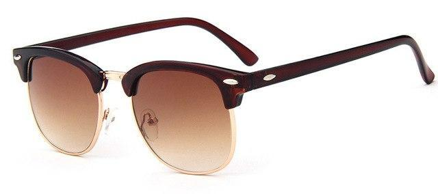 Half-Frame Sunglasses (Club Style) - Brown - Men