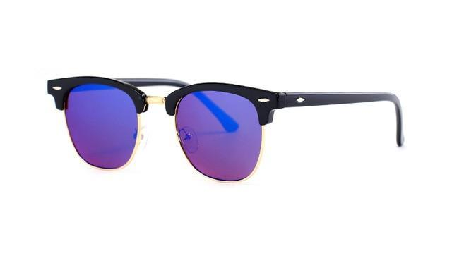 Skeyeware Shades Men Dark Blue Lens Semi-Rimless Designer Style Sunglasses