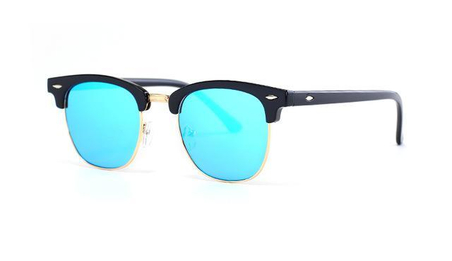 Skeyeware Shades Men Ice Blue Lens Semi-Rimless Designer Style Sunglasses