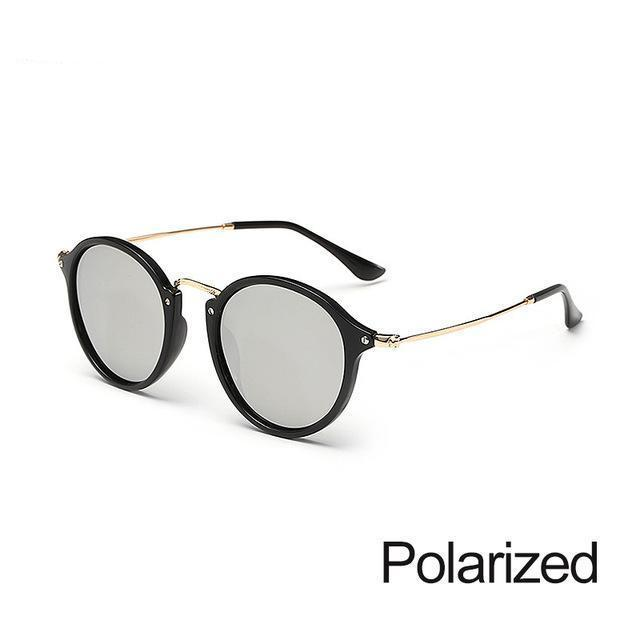 New Arrival Vintage Mirrored Round Sunglasses - Black And Silver - Unisex