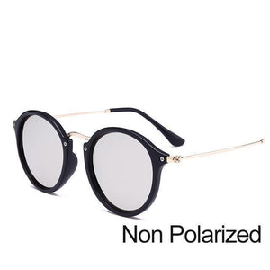 New Arrival Vintage Mirrored Round Sunglasses - Black And Silver (Not Polarized) - Unisex