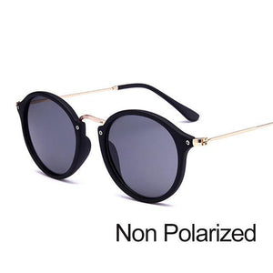 New Arrival Vintage Mirrored Round Sunglasses - Black Grey (Not Polarized) - Unisex