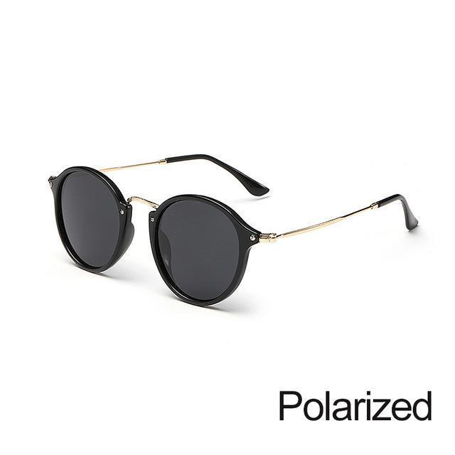 New Arrival Vintage Mirrored Round Sunglasses - Black - Unisex