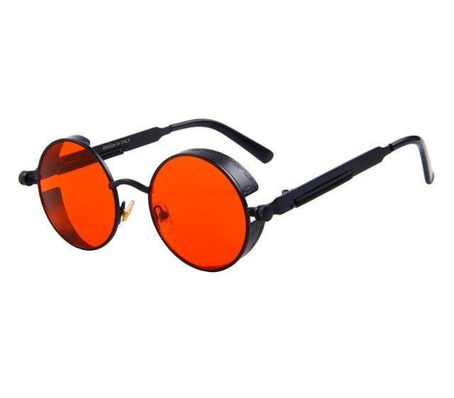 Round Steampunk Sunglasses - Black Red - Unisex