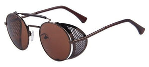Round Steampunk Sun Glasses Unisex - C06 Brown - Unisex