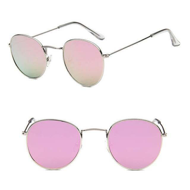 Skeyeware Shades Unisex C12 silver pink Unique Small Round Sunglasses