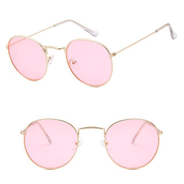 Skeyeware Shades Unisex C14 gold light pink Unique Small Round Sunglasses