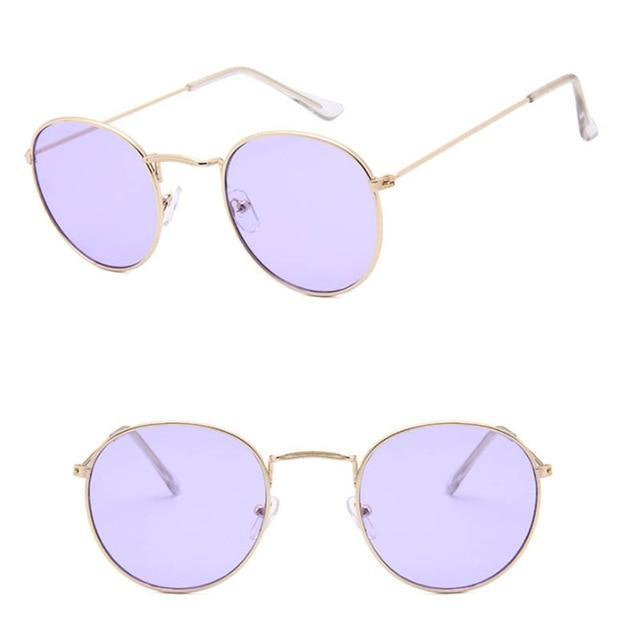 Unique Round Sunglasses - Gold Light Purple - Unisex