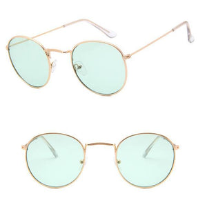 Skeyeware Shades Unisex C17 gold light green Unique Small Round Sunglasses