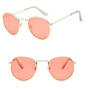 Skeyeware Shades Unisex C18 gold light red Unique Small Round Sunglasses