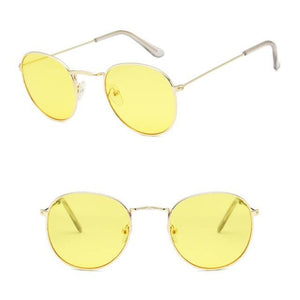 Skeyeware Shades Unisex C19 gold lightyellow Unique Small Round Sunglasses