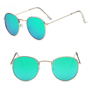 Skeyeware Shades Unisex C3 gold green Unique Small Round Sunglasses