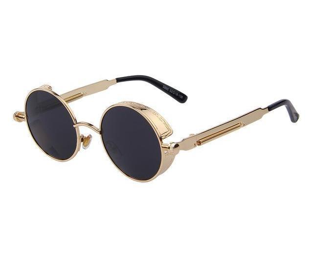 Round Steampunk Sunglasses - Gold Black - Unisex
