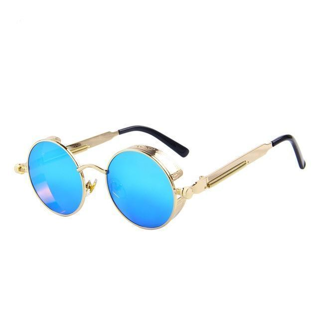 Round Steampunk Sunglasses - Gold Blue - Unisex