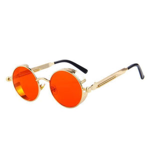 Round Steampunk Sunglasses - Gold Red - Unisex