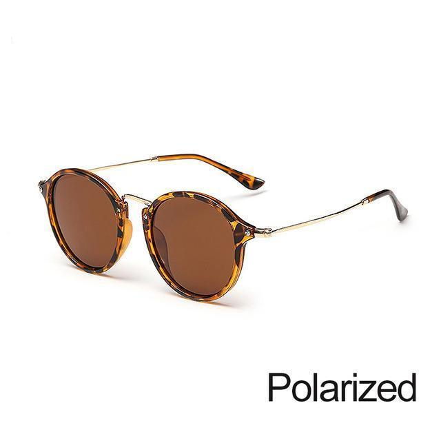 New Arrival Vintage Mirrored Round Sunglasses - Leopard Brown - Unisex