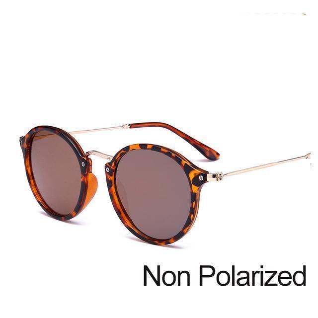 New Arrival Vintage Mirrored Round Sunglasses - Leopard Brown (Not Polarized) - Unisex