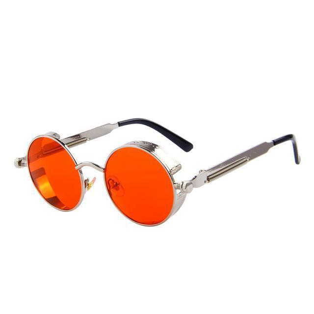 Round Steampunk Sunglasses - Silver Red - Unisex