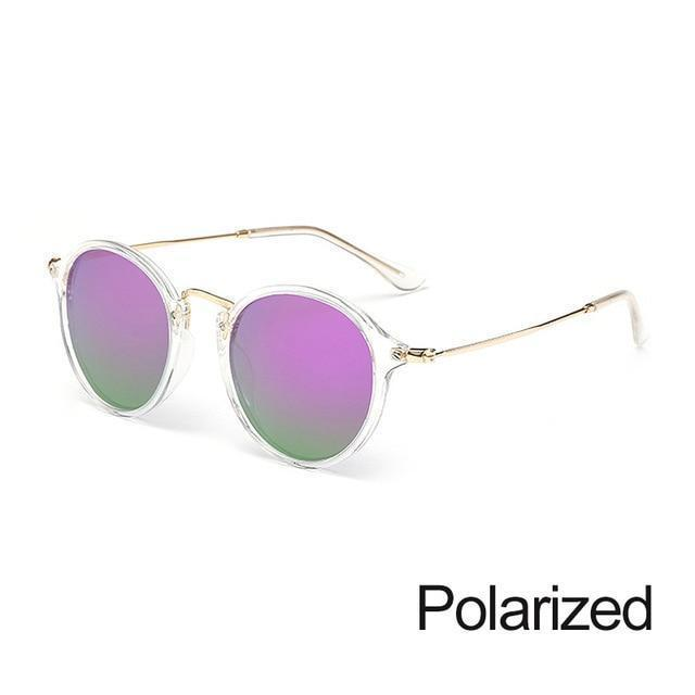 New Arrival Vintage Mirrored Round Sunglasses - Trans Purple - Unisex